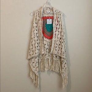 NWT Blue Pepper Cream Crocheted Open Vest